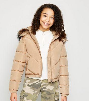 girls camel faux fur hood puffer jacket new look