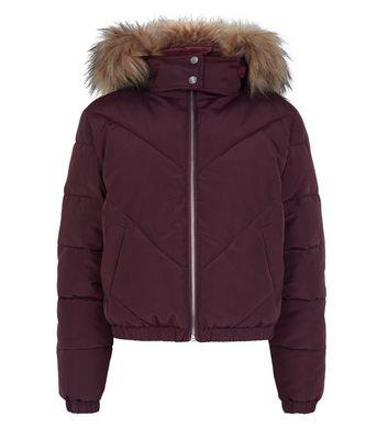girls burgundy faux fur hood puffer jacket new look