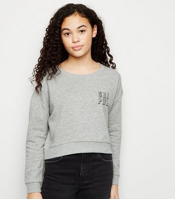 Girls Dark Grey GRL PWR Slogan Sweatshirt