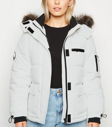 Petite White Faux Fur Trim Puffer Jacket