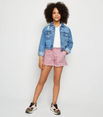 Girls Pink Denim Utility Shorts