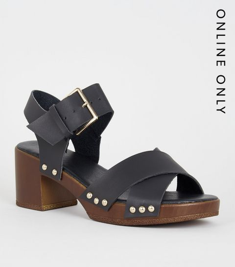 366933e3ee60 ... Girls Tan Wood Sole Chunky Sandals ...