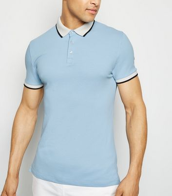 Pale Blue Tipped Muscle Fit Polo Shirt