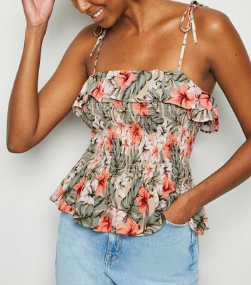 Brown Floral Print Shirred Strappy Cami