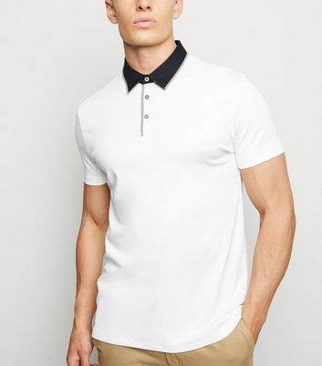 White Contrast Collar Polo Shirt
