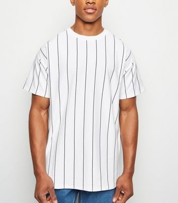 White Vertical Stripe Short Sleeve T-Shirt