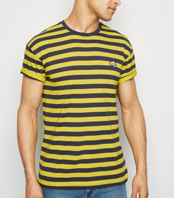 Yellow Stripe Fist Embroidered T-Shirt