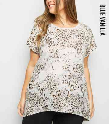 Blue Vanilla Curves White Metallic Leopard Print Top