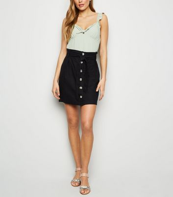 Black Linen Blend Paperbag Mini Skirt