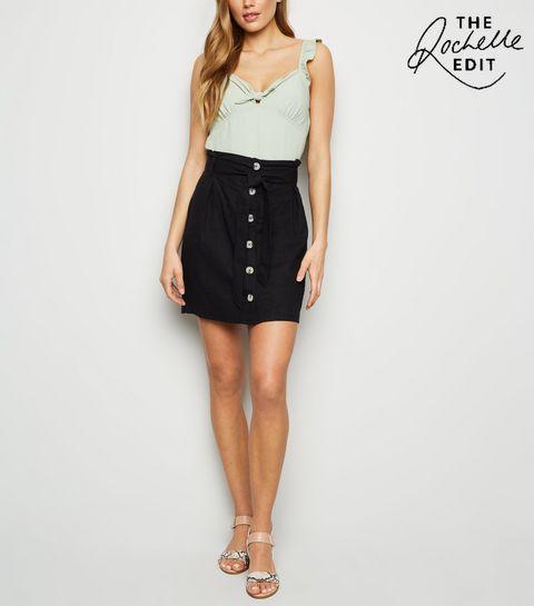 e96d31ad4564e ... Black Linen Blend Paperbag Mini Skirt ...