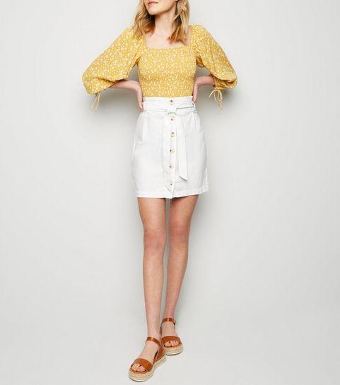 08371ada6e39 ... White Linen Blend Paperbag Mini Skirt ...