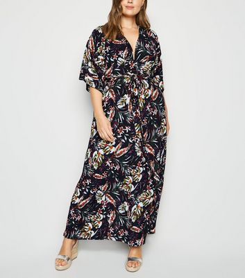 Blue Vanilla Curves Navy Leaf Print Maxi Dress