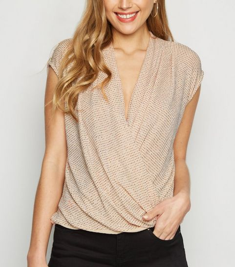 a95be1bb477808 ... Pale Pink Glitter Wrap Front Top ...