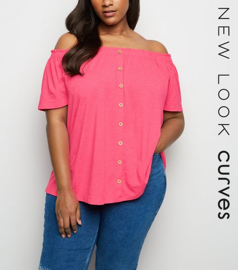 ede30cd3b5e7f ... Curves Mid Pink Button Front Bardot Top ...