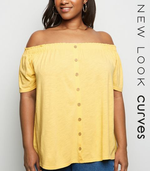 fcb1513309fc0 ... Curves Mustard Button Front Bardot Top ...
