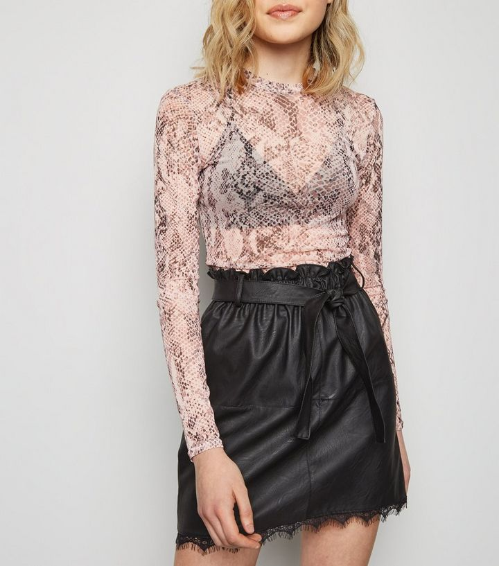 985640f0862 Tokyo Doll Black Leather-Look Lace Trim Skirt | New Look