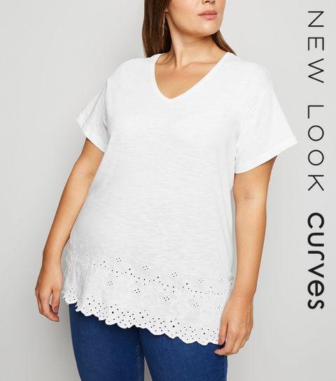 2458de6809 ... Curves White Broderie T-Shirt ...
