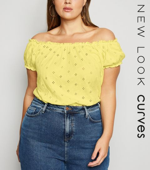 0e743c90b24 Mid Pink Yellow. Curves Yellow Broderie Milkmaid Top · Curves Yellow Broderie  Milkmaid Top ...