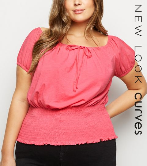 3aa1daa3900961 ... Curves Mid Pink Milkmaid Top ...