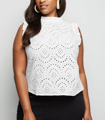 Curves White Broderie Frill High Neck Top