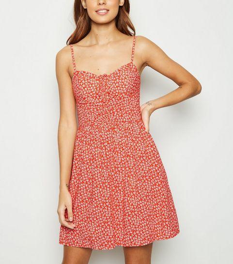 3117c99999e42 Red Floral Bustier Sundress · Red Floral Bustier Sundress ...