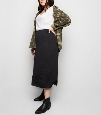 Curves Black Midi Skirt