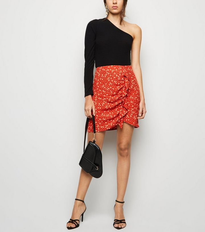 5645aa7d8c54 Red Ditsy Floral Ruffle Mini Skirt | New Look