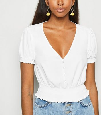 Off White Shirred Waist Button Up Blouse