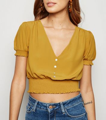Yellow Shirred Waist Button Up Crop Blouse