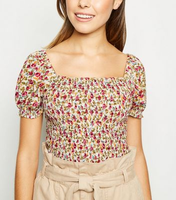 White Floral Shirred Square Neck Top