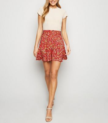 Red Floral Button Up Skater Skirt