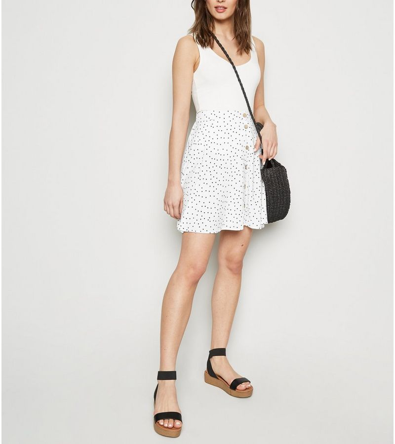 New Look - spot button up mini skirt - 2