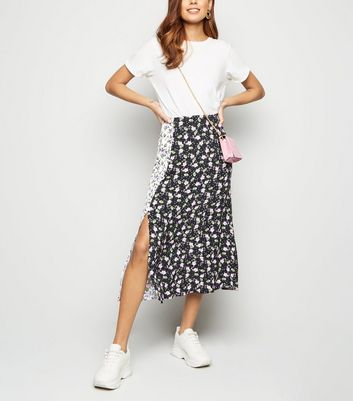 Black Mixed Floral Side Split Midi Skirt