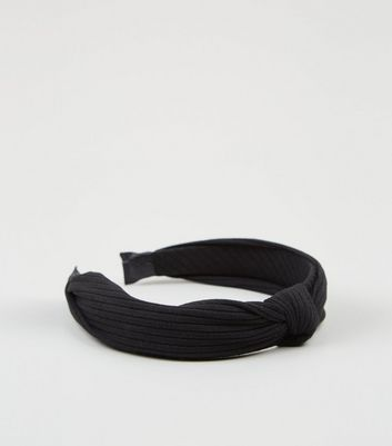 Black Ribbed Knot Top Headband