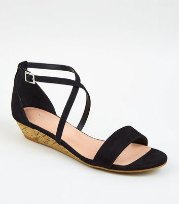 Black Suedette Low Wedge Heels