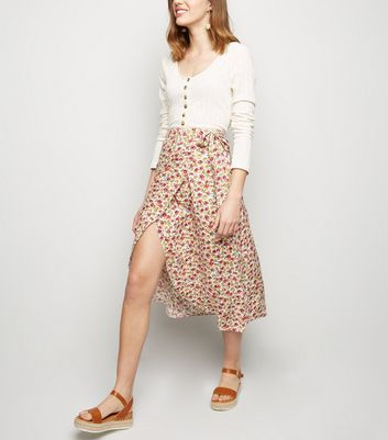 White Floral Tie Side Wrap Midi Skirt