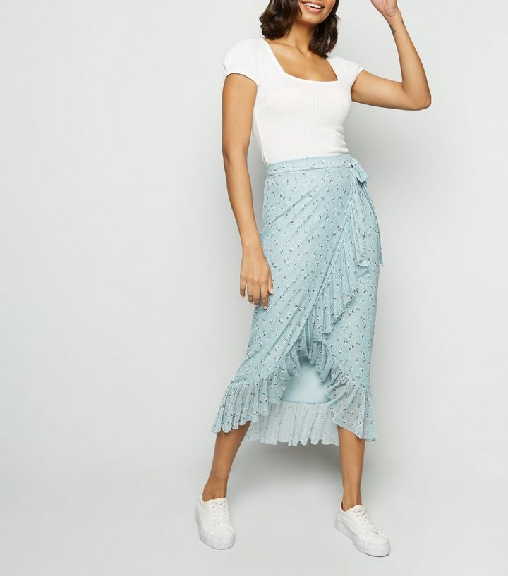 complimentary shipping 2018 shoes high quality materials Blue Floral Mesh Frill Wrap Midi Skirt Add to Saved Items Remove from Saved  Items