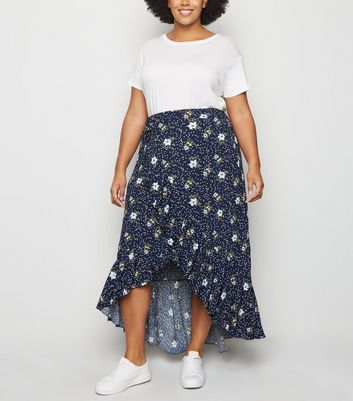 Blue Vanilla Curves Navy Floral Midi Wrap Skirt
