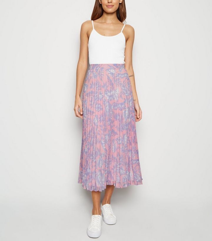 38b3f12ff2c3f3 Pink Tropical Pleated Midi Skirt