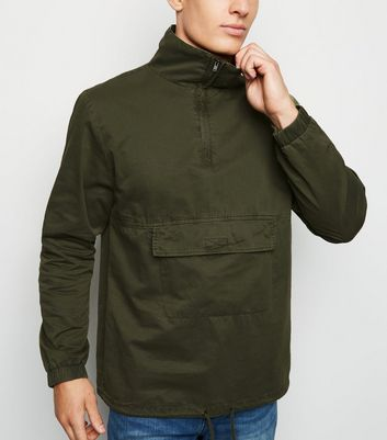 Khaki Half Zip Funnel Neck Shacket