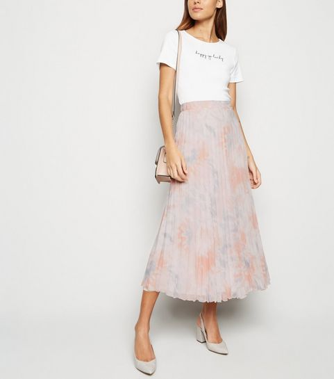 101c911b1ad ... Pink Tie Dye Pleated Midi Skirt ...