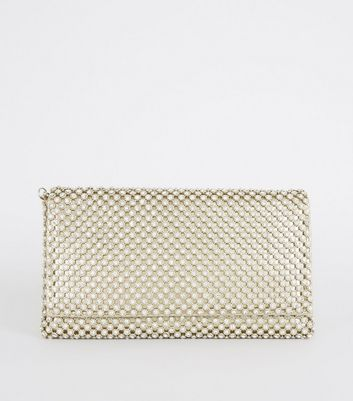 Gold Diamanté Foldover Clutch Bag
