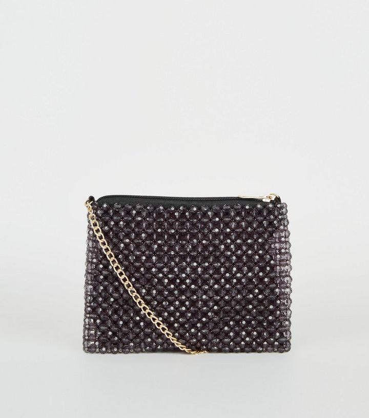 vente chaude en ligne 91ee9 90c6c Pochette noire à bandoulière et à perles fantaisie | New Look