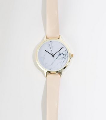 Pale Pink Marble Effect Face Watch