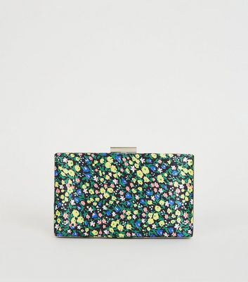 Green Floral Print Satin Clutch Bag