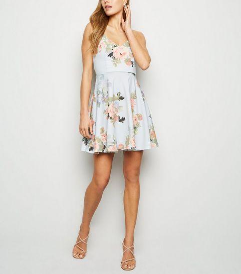 10e721c3ef ... Pale Blue Floral Skater Dress ...