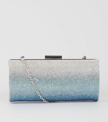 Blue Ombré Diamanté Clutch Bag