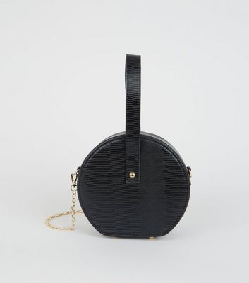 Black Leather-Look Round Shoulder Bag