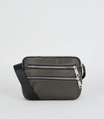 Khaki High Shine Zip Cross Body Bag