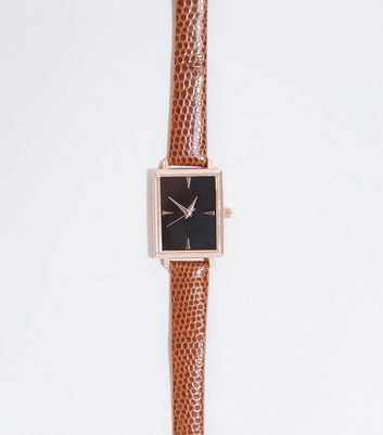 Brown Vintage-Style Faux Croc Watch